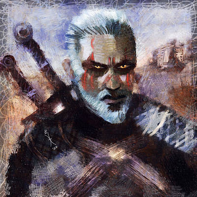 Painting - The Witcher painting 1709 by Maciej Mackiewicz