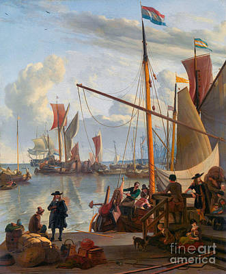 Rabbit Marcus The Great - The Y at Amsterdam, seen from the Mosselsteiger, mussel pier by Ludolf Bakhuysen