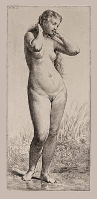 Drawing - The Young Bather by Charles-Emile Jacque