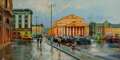 Painting - Theatrical weather. Theatre square by Alexey Shalaev