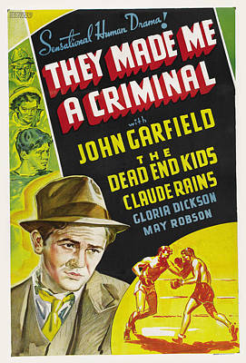 Winter Animals - They Made Me a Criminal movie poster, with John Garfield, 1939 by Stars on Art