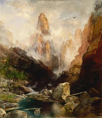 David Bowie Royalty Free Images - THOMAS MORAN 1837 1926 Mist in Kanab Canyon Utah 1892 Royalty-Free Image by Arpina Shop