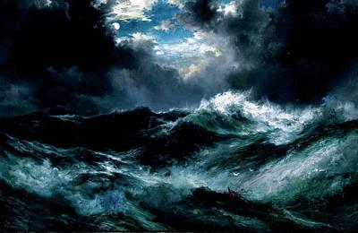 David Bowie Royalty Free Images - Thomas Moran 1837 1926 Moonlit Shipwreck at Sea Royalty-Free Image by Arpina Shop