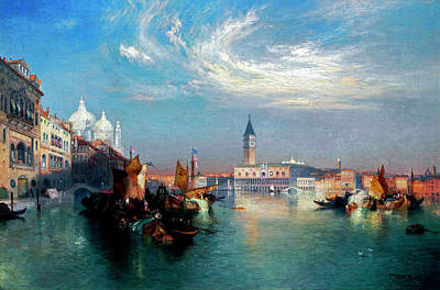 David Bowie Royalty Free Images - Thomas Moran 1837 1926 The Entrance to the Grand Canal Royalty-Free Image by Arpina Shop