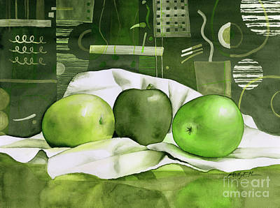 Animal Portraits - Three Apples-Green by Hailey E Herrera