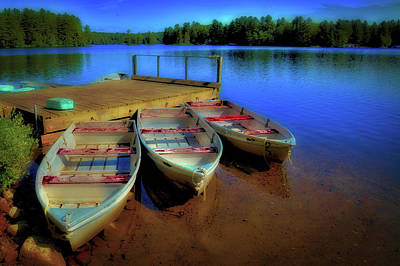 Christmas Cards - Three Boats on White Lake by David Patterson