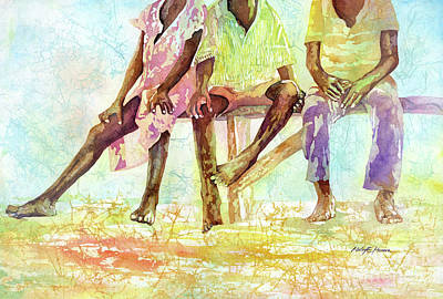 Rusty Trucks - Three Children of Ghana-pastel colors by Hailey E Herrera