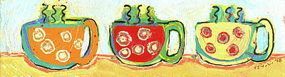 Comic Character Paintings - Three Cups a Day by Jennifer Lommers