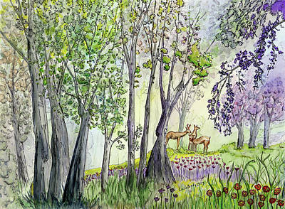 Winter Animals - Three Deer In The Woods Watercolor and Ink by Linda Brody