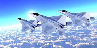 Santas Reindeers Royalty Free Images - Three F-22 Fighter Jets Royalty-Free Image by Corey Ford
