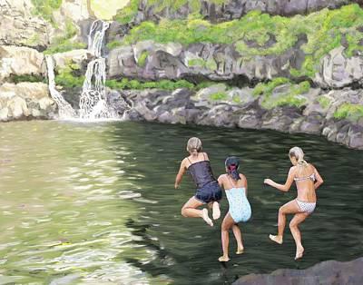 Digital Art - Three Friends and Seven Sacred Pools by Kim W Nolan