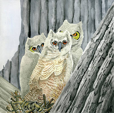 Caravaggio - Three Great Horned Owlets Sitting on Their Nest by Linda Brody