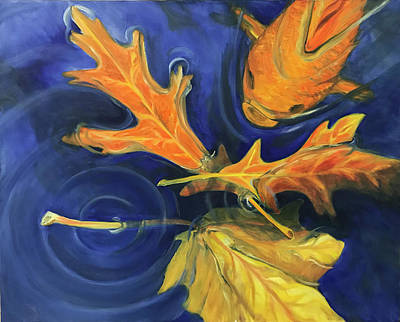Painting - Three Leaves and a Fish by Laura Dozor