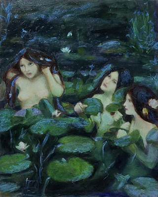 Painting - Three Nymphs Conjure Their Magicks by Linda Falorio