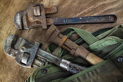 Man Cave - Three pipe wrenches by Cindy Shebley