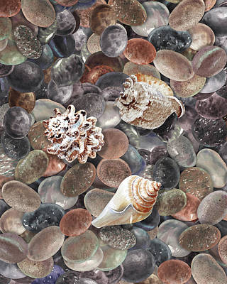 Moody Trees - Three Seashells On The Beach Rocks Pebbles Watercolor by Irina Sztukowski