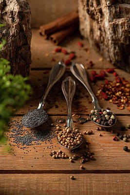Photograph - Three spoons with Poppy seeds, Coriander and Pepper mix on a wooden surface by Nick Paschalis