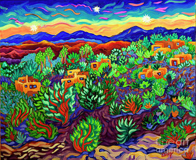 Painting - Three Stars at Twilight by Cathy Carey