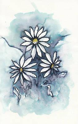 Stellar Interstellar - Three Sweet Daisies in Ink by Conni Schaftenaar