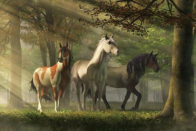 Animals Digital Art - Three Wild Horses in the Forest by Daniel Eskridge