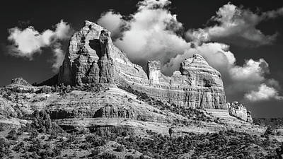 Little Mosters - Thumb Butte and the Bench BW by Jerry Fornarotto