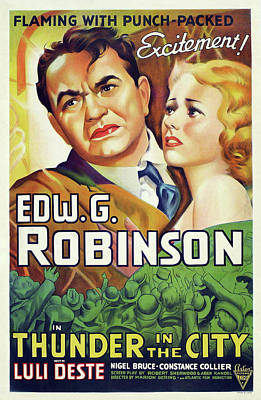 Pasta Al Dente Royalty Free Images - Thunder in the City movie poster, with Edward G. Robinson, 1937 Royalty-Free Image by Stars on Art