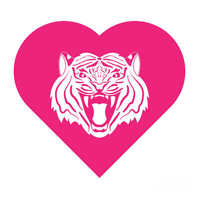 Animals Digital Art - Tiger Cares Pink by College Mascot Designs