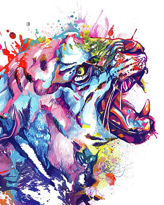 Animals Digital Art - Tiger Colorful by Bekim M