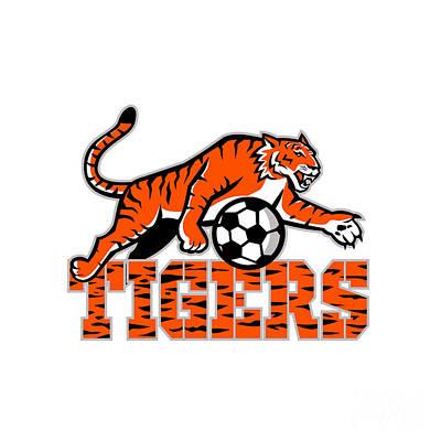 Studio Grafika Vintage Posters - Tiger Dribbling Soccer Ball Mascot by Aloysius Patrimonio