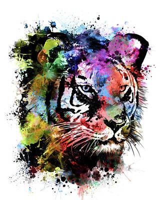 Animals Digital Art - Tiger Expression Face by Bekim M