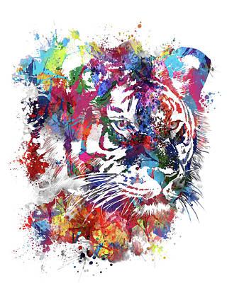 Animals Digital Art - Tiger Expression Face V2 by Bekim M