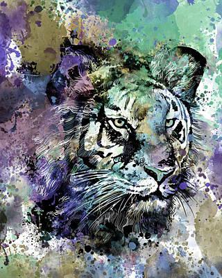 Animals Digital Art - Tiger Expression Face V3 by Bekim M