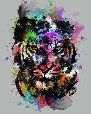 Animals Digital Art - Tiger Expression V2 by Bekim M