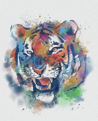 Animals Digital Art - Tiger Face Vintage V2 by Bekim M
