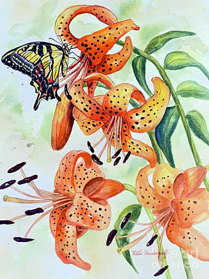 Little Mosters - Tiger Lilies and Butterfly by Hilda Vandergriff