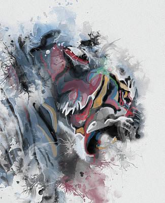 Animals Digital Art - Tiger Portrait Abstract by Bekim M