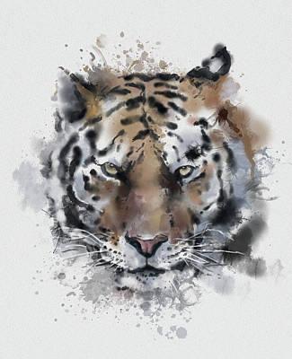 Animals Digital Art - Tiger Portrait Watercolor by Bekim M
