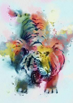 Animals Digital Art - Tiger Roar Colorful by Bekim M
