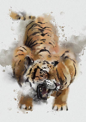 Animals Digital Art - Tiger Roar Watercolor by Bekim M