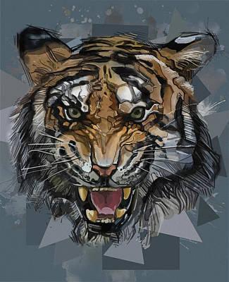 Animals Digital Art - Tiger Roaring Abstract by Bekim M