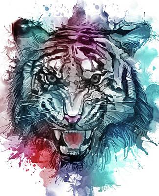 Animals Digital Art - Tiger Roaring Colorful by Bekim M