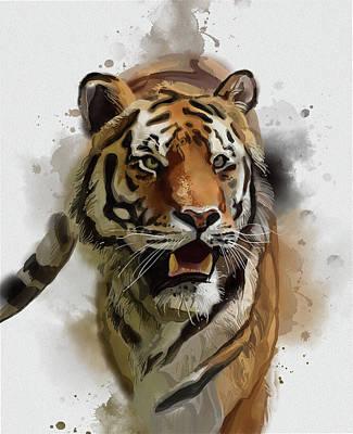 Animals Digital Art - Tiger Vintage by Bekim M