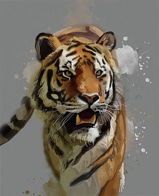 Animals Digital Art - Tiger Vintage V2 by Bekim M