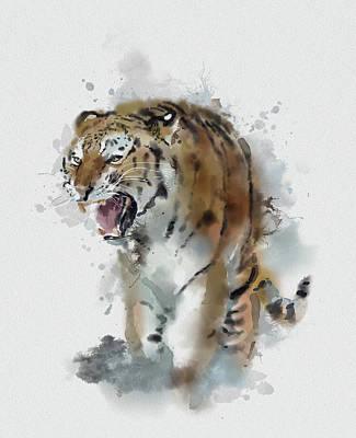 Animals Digital Art - Tiger Watercolor by Bekim M