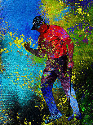 Sports Paintings - Tiger Woods Dream 02 by Miki De Goodaboom