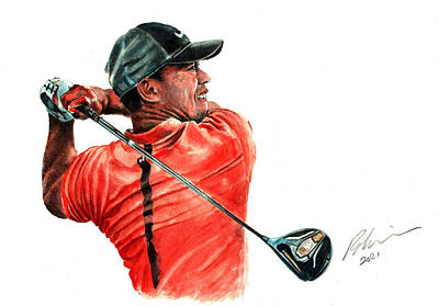 Painting - Tiger Woods Sunday Red by Mark Robinson