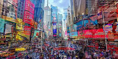 Gaugin Rights Managed Images - Times Square Mash Up Royalty-Free Image by David Manlove