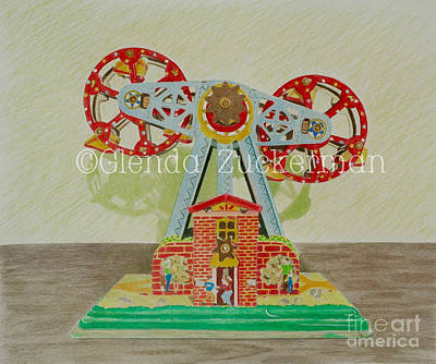 Drawings Royalty Free Images - Tin Double Ferris Wheel Royalty-Free Image by Glenda Zuckerman