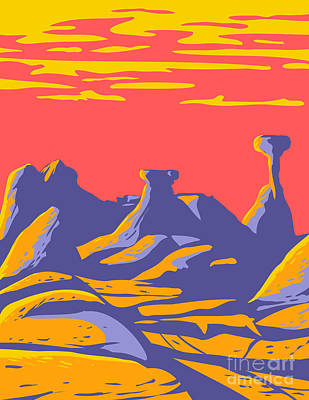 Sara Habecker Folk Print - Toadstools at the Grand Staircase-Escalante National Monument Located in Southern Utah United States WPA Poster Art by Aloysius Patrimonio