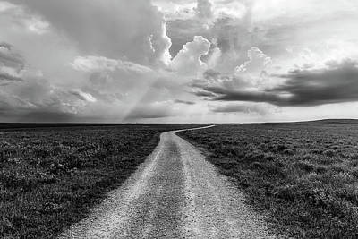 Staff Picks Cortney Herron - Today is the Day - Dirt Road in Kansas Flint Hills in Black and White by Southern Plains Photography